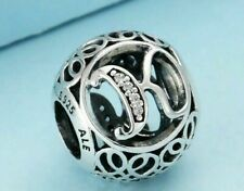Authentic Pandora Sterling Silver Vintage K Clear Charm 791855#