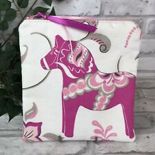 Swedish Dala Horse Magenta Pink White Dalahäst  Kurbits Zipper Pouch Makeup Bag