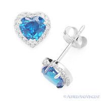 Heart-Shape CZ Crystal Halo Faux Blue Topaz Stud Earrings in 925 Sterling Silver