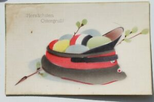33837 Ak Ostergruß Soldiers Cap With Easter Eggs Black White Red Military 1. Wk