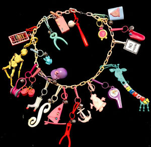 Vintage 1980s Plastic Bell Clip Charm Necklace 21 Charms 80s Abacus Tub More!!!!