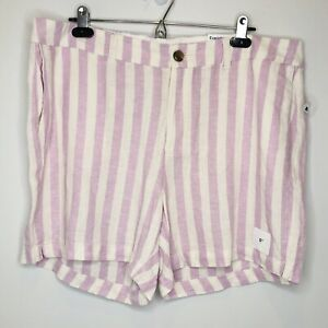 Old Navy Size 16 Purple/Cream Striped Linen Blend Everyday Shorts NWT