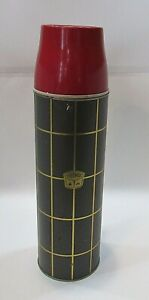 Vintage 1950's Gray Red Gold 1 qt Metal Thermos Old Lunch Vacuum Bottle FREE S/H