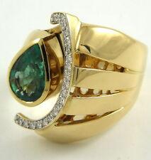 Handgefertigte Ringe Echtschmuck aus Gelbgold mit Smaragd-Hauptstein für Damen