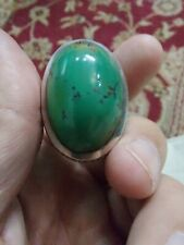 100% Natural GREEN Turquoise Hussaini (A.S) Feroza silver men OLD Stone Ring