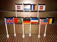 10 Lego City Länderflaggen Fahnen Schilder Banner Town Street Mast