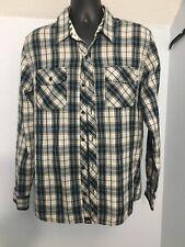 Vans OTW XL Gray Blue Check Plaid Long Sleeve Lightweight Flannel Shirt X-Large
