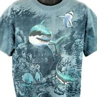 Great White Shark T Shirt Vintage 90s Ocean All Over Print Made In USA Large