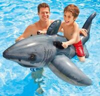 Intex Mega XXL Reittier weißer  Hai  aufblasbares Schwimmtier  1,73 x 1,07 m