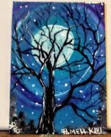 ACEO Original, Bare Tree Full Moon, Sparkles Original Painting By Pamela S. Kivi