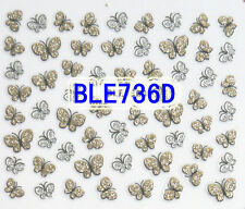 50+ Gold Silver Glitter Butterfly 3D Nail Art Stickers Decals Tips Decoration