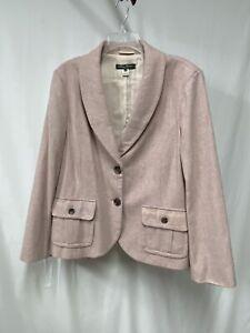 Eddie Bauer Rose Gold Pink Wool Blend Blazer 2 Button Long Winter Ready 18