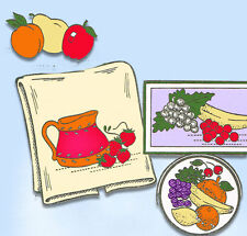 1960s VTG Aunt Martha's Embroidery Transfer 3632 Uncut Fruit Vegetable Motifs