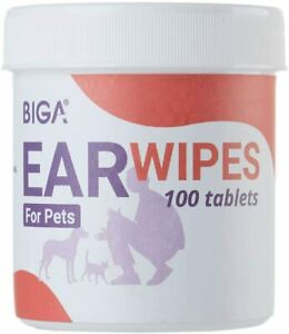 BIGA Pet Ear Cleaner Wipes with Aloe Vera Extract for Dogs Puppy 100ct per Pack