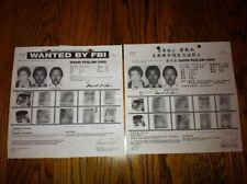 (1) CHINESE, (1) ENGLISH WANTED FBI POSTER OF HONG KONG KILLER DAVID CHOI