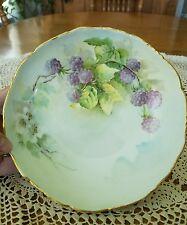 Antique Limoges France Style Handpainted Blackberries Vine Footed Serving Bowl