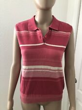 Ep Pro Womens Sleeveless Polo Pink Stripes Size S/P
