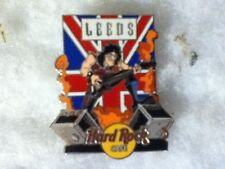 Hard Rock Cafe Pin Leeds Head Banger Guitar Player with Union Jack Flag 2002