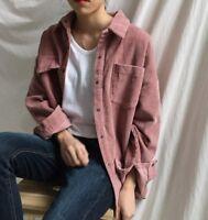 New Women girl Fashion Korean Fall Top Shirt Chic Casual Loose Plain Corduroy