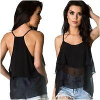 Coqueta Women's halter Flare Sleeveless STRAP Ruffle chiffon Shirt Blouse Top