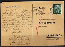 """WW2 Germany 3rd Reich Scarce Card 1936 """"HH"""" Salutation, Dresden>Leipzig, SEE PIC"""