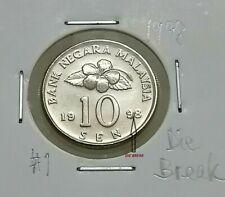 MALAYSIA  10sen coin 1998  ERROR DIE BREAK  Very High Grade  Congkak  #1