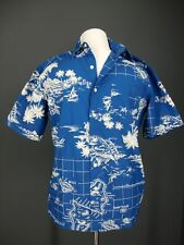 OLD NAVY Shirt M Mens Blue Hawaii Map Classic Fit Retro