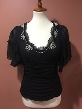 Nanette Lepore Black Silk Blouse Top Beads Embroidered Size 4
