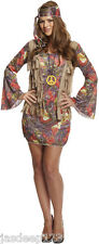 Para Mujer Hippy Hippy Fancy Dress Costume Outfit 60s 70s Groovy Damas Retro