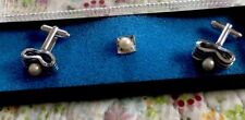 VINTAGE Pearl CUFF LINKS & TIE TACK in box SPARKLE MENS JEWELRY EUC