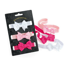Pack of 3 Pink and White Baby Headbands Kids Hair Band Bow Elastic Stretchy
