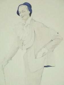Vintage Art Deco Mode Zeichnung Kleid 1950 Chevalier Ingeborg Lehmann Dekorativ