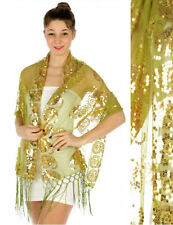 Large Flower Sequin Bead Shawl Green/Gold, Wedding, Prom, Formal, 100% Polyester