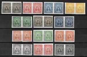 EL SALVADOR 1896 Unused No Gum Imperf Set of 13 Color PROOFS Pairs Rare!