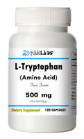 L-Tryptophan Amino Acid 500 mg Serving Free Form 120 Capsules Big Bottle 500mg