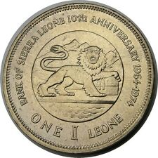 elf  Sierra Leone 1 Leone 1974 Bank of SL 10th Lion