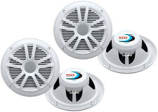 "4) New Boss Audio MR6W 6.5"" 360W Dual Cone Marine/Boat Speakers Stereo- White"