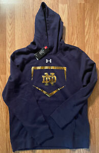Notre Dame Baseball Team Issued Under Armour Hooded Sweatshirt New Tags Large