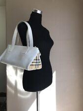 BURBERRY London  Nova Check White Leather Shoulder Tote Bag EUC