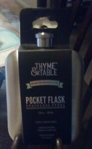 NEW THYME & TABLE 5/6  OZ STAINLESS STEEL POCKET FLASK
