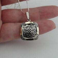 Hadar Designers Filigree Pendant 9k Yellow Gold 925 Silver Zircon Handmade (MS