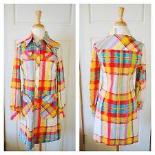 Vintage Dress Plaid Mini Shirt Dress Hippie