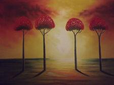 """Bosque Abstracto Rojo árboles grandes Pintura al Óleo Lienzo Arte Moderno Paisaje 20x24"""""""