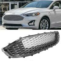 ABS Front Upper Bumper Grille Grill Chrome Honeycomb Mesh For 19-20 Ford Fusion
