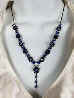 EUC Designer Michal Negrin Dainty Blue Flower Crystal Necklace Brass Tone