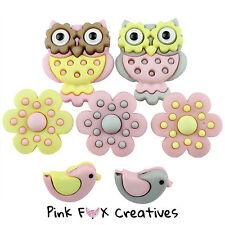 Whoo Te Ama Vestido para arriba Novedad Craft Botones de Búho Animal Flor Chica Pájaro UK
