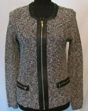 Jones New York Signature Cardigan Sweater Zip Up Size Small Faux Leather Trim