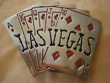 Vintage Men's Solid Brass Las Vegas Royal Flush Diamonds Belt Buckle Cards Ace