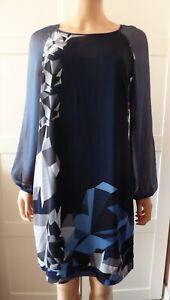 ALMOST FAMOUS SILK NAVY BLUE GEOMETRIC SHIFT DRESS UK 10