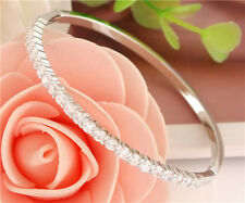 Fashion Jewelry 925 Silver Plated Bangle Crystal Elegant Bracelet Women Gift New